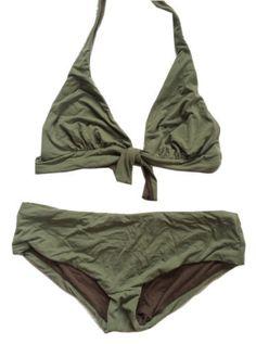f2acae222cc0a BCBG Max Azria NEW Sage   Brown Reversible Boy Shorts Bikini Swimsuit