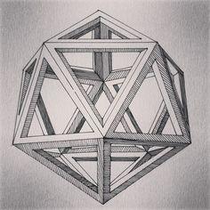Icosaedro Leonardo Da Vinci Escher Tessellations, Tessellation Patterns, Geometric Wallpaper Navy, Geometric 3d, Geometry Art, Sacred Geometry, Escher Art, Mc Escher, Diamante Logo