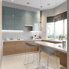 25 Easy And Simple Soft Grey Cabinet Design Ideas For Your Kitchen. To help you with that here are 20 stunning kitchen design ideas with grey cabinets specifically. They span across multiple  Blue Kitchen Interior, Blue Kitchen Designs, Blue Kitchen Decor, Green Kitchen, Modern Kitchen Design, Modern House Design, Glossy Kitchen, Kitchen White, Modern Apartment Design
