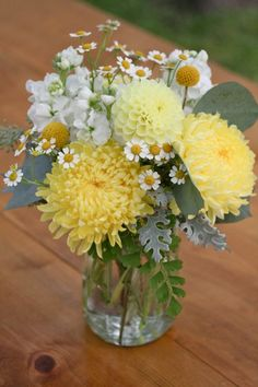 Rustic Yellow Dahlia & Mum Bud Vase // wedding, summer, fall, rustic, centerpiece, billy balls, mums, dahlias, dusty miller, wildflower