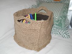 crochet basket with yarn hemp...