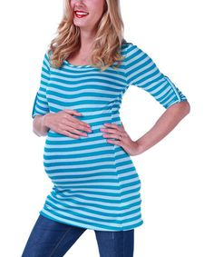 Look what I found on #zulily! Blue Stripe Maternity Scoop Neck Top by PinkBlush Maternity #zulilyfinds