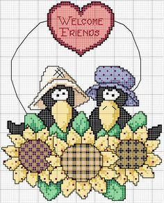 Schema punto croce Welcome Friends