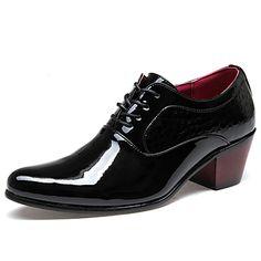 Черный+Мужская+обувь+Для+офиса+/+На+каждый+день+/+Для+вечеринки+/+ужина+Лакированная+кожа+/+Дерматин+Оксфорды+–+RUB+p.+1+911,86