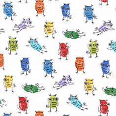 Thumb Print Owls on White Samara Khaja Timeless Treasures Art For Kids, Crafts For Kids, Arts And Crafts, Samara, Fingerprint Crafts, Thumb Prints, Cotton Quilting Fabric, Collaborative Art, Owl Art