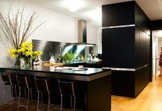 Sleek kitchen. Stainless steel trims!