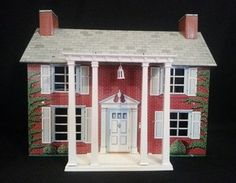 Vintage Marx Tin Doll House w Front Porch Furniture Colonial Style 2 Story | eBay