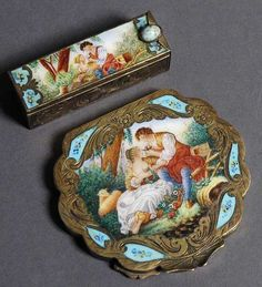 Antique Italian Sterling and Enamel Compact and Lipstick Set