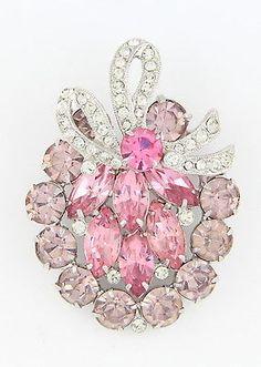 Vintage & Rare Eisenberg Ice Rhodium Brooch - Pink, Lavender & Clear Rhinestones