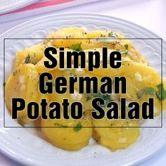 Schwäbischer Kartoffelsalat is a simple German Potato Salad hailing from the Swabian region of Germany that features sliced potatoes, minced onions, hot broth, oil, vinegar, and fresh parsley! | FiveHeartHome.com #potatosalad