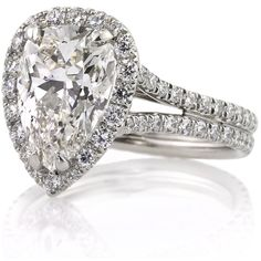 4.66ct Pear Shaped Diamond Engagement Anniversary Ring (91,890 CAD) ❤ liked on Polyvore featuring jewelry, rings, accessories, engagement rings, pear cut ring, pear cut diamond ring, diamond engagement rings, pear shape diamond ring and diamond jewellery