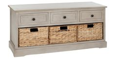 With three drawers as well as three woven sea-grass baskets, this handsome unit offers a wealth of storage space. It can also serve as a bench, making it ideal for a mudroom, as a window seat in...