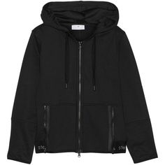 Adidas by Stella McCartney Essentials cotton-blend hooded top (1,605 MXN) ❤ liked on Polyvore featuring tops, hoodies, black, adidas tops, black zip hoodies, black top, zipper hoodies and zip top