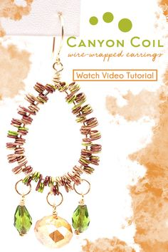 How-To Jewelry Tutorial: Canyon Coil Earrings Diy Jewelry Projects, Artistic Wire, Wire Wrapped Earrings, Green And Gold, Wire Jewelry, Wire Wrapping, Design Elements, Crochet Earrings, Jewelry Making