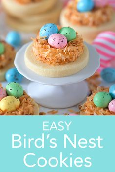 Bird's Nest Cookies The cutest bird's nest Easter cookies made with a simple sugar cookie topped with vanilla buttercream, toasted coconut and chocolate flecked eggs. The perfect Easter treat from Preppy Kitchen that's so much fun to make! Easter Cake Pops, Easter Cookies, Easter Treats, Easter Food, Easter Party, Easter Baking Ideas, Easy Easter Recipes, Easter Games, Easter Table