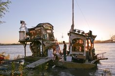 Artist Swoon made amazing rafts out of nyc junk and sailed them around and crashed the Venice Biennale and stuff. magic. <3