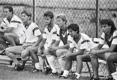OM Saison 1986-87. Jean-Pierre Papin, Jean-Yves Francini, Christophe Galtier, Karl-Heinz Förster, Alain Giresse & Patrick Cubaynes.