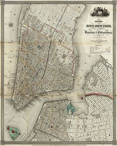 new york map 1840 Old Map Of New York City Vintage Manhattan Map Brooklyn Map Historic Map Old Restoration decorator Style NYC map decor by VintageImageryX New York City Map, City Maps, Manhattan Map, Lower Manhattan, Brooklyn Map, Wall Maps, Vintage Maps, Vintage Photos, Vintage New York
