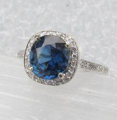Engagement Ring Square Cushion Blue Sapphire in 14k Gold Diamond Halo Gemstone Jewelry September Birthstone Anniversary SALE