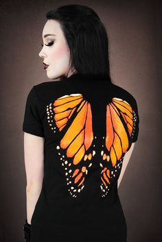 Restyle Monarch Butterfly Wings Top T Shirt Fairy Gothic Goth Black-Good god it's gorgeous.