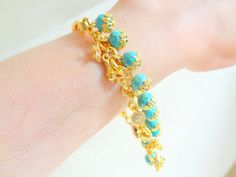 Turquoise Gemstone Gold Plated Bracelet by sevinchjewelry on Etsy, $28.00