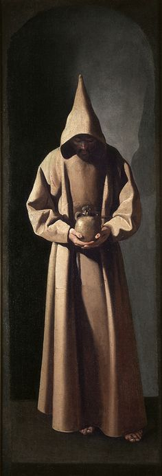 "Francisco de Zurbarán (1598 – 1664). ""Saint Francis of Assisi in his tomb"". Zurbarán's powerful portrayal concentrates solely on the figure of the saint, who stands before us full-length, and dressed in the wool garments worn by the Franciscan monks. A high, peaked cowl casts his face into darkness and focuses our attention on the saint's meditative state and on the golden skull he clutches to his chest-the object of his intense contemplation. Milwaukee Art Museum."