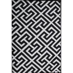 Green Decore Picket Fence Black/White Rug