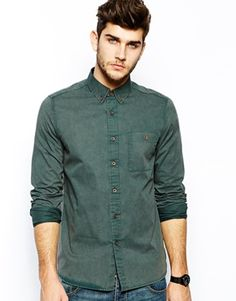 ASOS+Twill+Shirts+In+Long+Sleeve+With+Acid+Wash