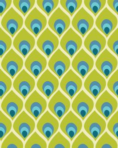 Modern Peacock Feather Blue Green Abstract Pattern Print 8x10 by PrissDesigns etsy
