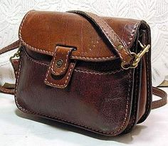 Bridge Brown Leather Shoulder Bag Vintage