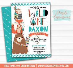 Printable Wild One Tribal Woodland Birthday Invitation | DIY 1st Birthday Party | Boys First Birthday | Bear, Fox, Owl | Bow and Arrows | Animals | Cupcake Toppers | Favor Tags | Signs | Water Bottle Labels | Food Labels | Chalkboard Poster | Banner | Matching Party Package Decor Available.