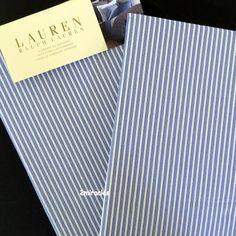 Ralph Lauren Standard Jermyn Street Shirt Pillowcases KING Blue/White Cotton  #RalphLauren