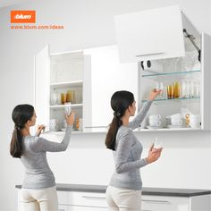 Blum has many ideas on 'perfecting motion' and will help you make your kitchen more practical. Door Opener, Kirchen, Wood Design, Ideas Para, House Plans, Home Improvement, The Unit, How To Plan, Storage