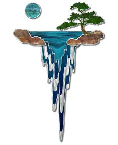 Would look great in SG. Take a vacation to the islands with this Mystic Falls metal wall sculpture by Ash Carl. This breathtaking metal wall hanging features four colorful metal laye Metal Wall Sculpture, Metal Tree Wall Art, Hanging Wall Art, Wall Sculptures, Tree Sculpture, Metal Art, Glass Wall Art, Stained Glass Crafts, Stained Glass Designs