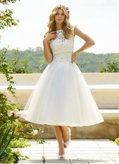 Ball-Gown Sweetheart Tea-Length Tulle Wedding Dress With Lace - Alternative Measures -