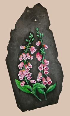 Foxgloves Slate Painting by KrimsonArtworks on Etsy, £55.00