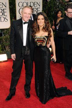Salma Hayek Gucci Dress Pictures at Golden Globes 2012   POPSUGAR Celebrity
