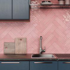White Subway Tiles, Ceramic Subway Tile, Subway Tile Colors, Pink Tiles, Pink Bathroom Tiles, Pink Kitchen Walls, Pink Kitchen Cabinets, Pink Kitchens, Pink Bathrooms