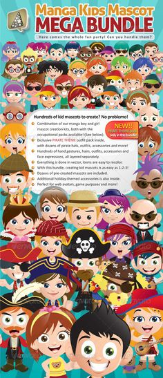 Manga Kids Mascot Mega Bundle - People Characters