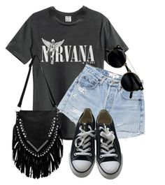 """Nirvana"" by monmondefou ❤ liked on Polyvore featuring RE/DONE and Converse"