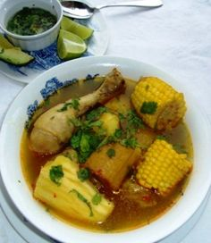 Sancocho is a common Colombian dish that you can make with fish, plantain, beef, chicken, pigeon peas or pork. Sancocho de gallina or Sancocho Valluno is originally from the Colombian Region El Valle. Mexican Food Recipes, Soup Recipes, Chicken Recipes, Great Recipes, Vegan Recipes, Cooking Recipes, Ethnic Recipes, Chicken Sancocho Recipe, Chicken Soup