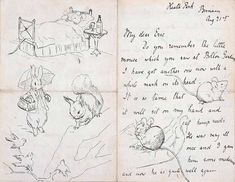 Currently, there is a rare exhibit of the works and papers of Beatrix Potter (author and illustrator of The Tale of Peter Rabbit, Jemima Puddleduck, and other beloved children's classics on the adorably cute and alarmingly dangerous world) at the Morgan Library & Museum in New York. Through January 27th, you can see her drawings and other works along with some amazing illustrated letters to young correspondents.