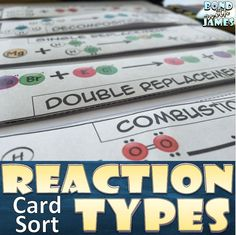 Each reaction type has its own interactive flip tab illustrating the reaction type using clip art representing elements and compounds. This may be used as a card sort and/or graphic organizer for the interactive notebook. #chemistry