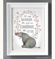 Originaldruck - Kunstdruck A4 Ich mag Nashörner - ein Designerstück von AboukiArtFactory bei DaWanda