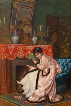 Woman Sitting in Front of a Fireplace (Auguste Toulmouche - )