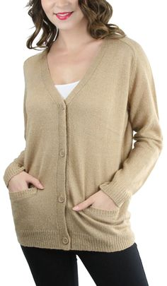 385f99aa86 New ToBeInStyle Women s Long Sleeve Deep V-Neck Knitted Button Up Cardigan  Sweater online.