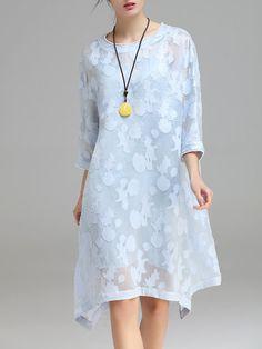 Shop Midi Dresses - Light Blue Casual Cotton-blend Asymmetrical Beaded Midi Dress online. Discover unique designers fashion at StyleWe.com.