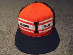 finest selection 61d43 bdf50 Fighting Illini Chief Illiniwek Illinois Blue SnapBack Hat Cap Men OSFA  Vintage