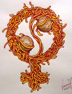 by Vernon Fourie | illo illustration drawing pen and ink watercolour yin yang female symbol spaghetti and meatballs