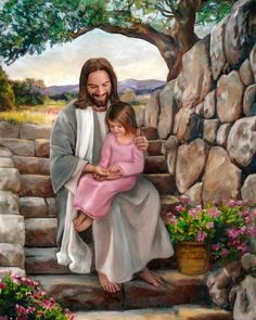A fine art painting of Jesus Christ and a little girl touching His hands. Painting by Brent Borup. Many sizes available framed or as a single print. Jesus Christ Painting, Jesus Art, God Jesus, Jesus Photo, Pictures Of Jesus Christ, Pictures Of God, Lds Pictures, Jesus Is Risen, Jesus Loves Me